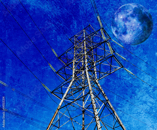 Foto op Plexiglas Donkerblauw Landscape with power lines and Full Moon