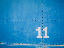 Number Eleven In White With Blue Background And Rivets, Beautiful Background With 11