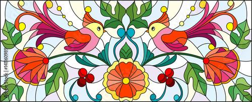 ilustracja-w-witrazu-projektuje-z-para-abstrakcjonistyczni-ptaki-kwiaty-i-wzory-na-lekkim-tle-horyzontalny