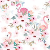 Fototapeta Młodzieżowe - Watercolor seamless pattern. Floral print with flamingo