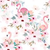 Fototapeta Fototapety dla młodzieży do pokoju - Watercolor seamless pattern. Floral print with flamingo