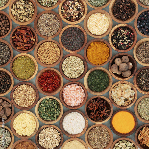 Keuken foto achterwand Assortiment Herb and Spice Seasoning in Wooden Bowls. Large selection.