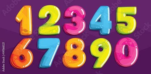 Fotografía  Vector cartoon kids figures. Set of color numbers
