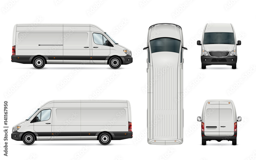 Fototapeta White van vector illustration. Isolated commercial vehicle on white background. All layers and groups well organized for easy editing. View from side, back, front and top.
