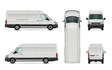 White Van Vector Illustration. Isolated Commercial Vehicle On White Background. All Layers And Groups Well Organized For Easy Editing. View From Side, Back, Front And Top.