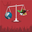 World and use of resources unbalance - illustrator