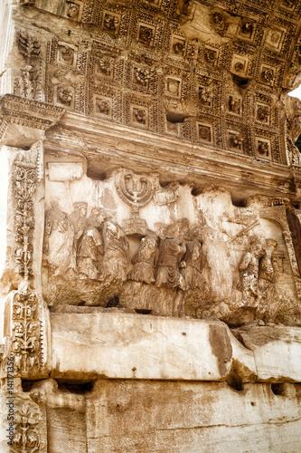 Detail of Triumphal Arch of Titus, Rome Canvas Print