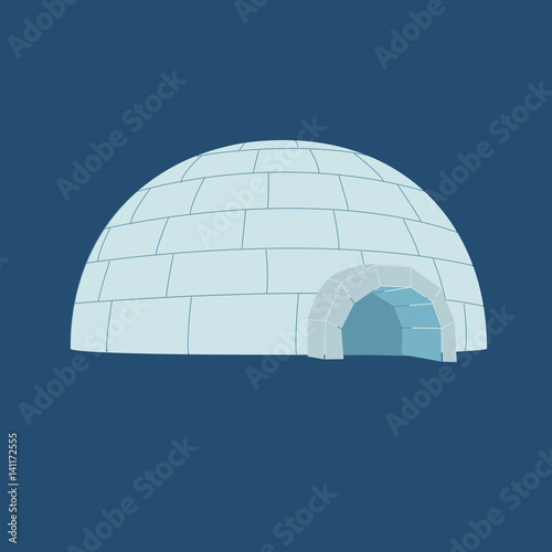 Poster Magie Ice House igloo. Vector illustration, isolated on a dark blue background.