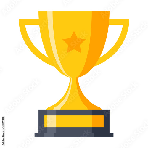Fotografie, Obraz Trophy cup, award, vector illustration in flat style