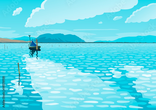 Spoed Foto op Canvas Turkoois Sea landscape with a fishing boat vector illustration