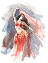 Watercolor Belly Dancer Wearing A Red Costume Hand Painted Illustration