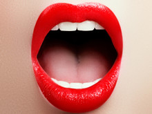 Close-up Of Woman's Lips With ...