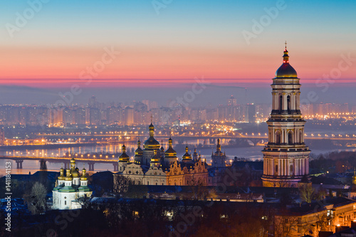 Photo Stands Kiev Aerial view at sunrise of the Kiev-Pechersk Lavra - one of the main symbol of Kiev, Ukraine