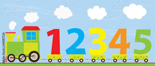 cartoon train with numbers 1-5/ educational vector illustration for children