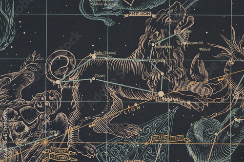 Mapa nieba- znak zoodiaku-lew