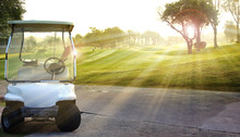 Golf Car On The Golf Course