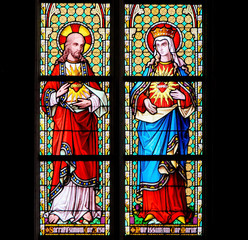 NaklejkaStained Glass - Sacred Heart of Jesus and Most Pure Heart of Mary