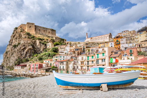 Beach of Scilla with Castello Ruffo, Calabria, Italy Wallpaper Mural
