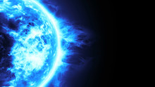 Realistic 3D Illustration Of Blue Planet, Frozen Planet Surface With Blue Flares,Highly Realistic Surface Burning Of White And Blue Sun Isolated On Black With Space For Your Text Or Logo,