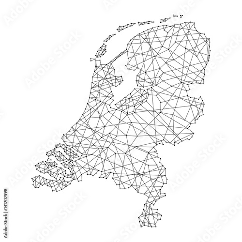 Fotografie, Obraz Map of Netherlands from polygonal black lines and dots of vector illustration