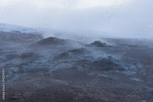 the eerie geothermal landscape Wallpaper Mural