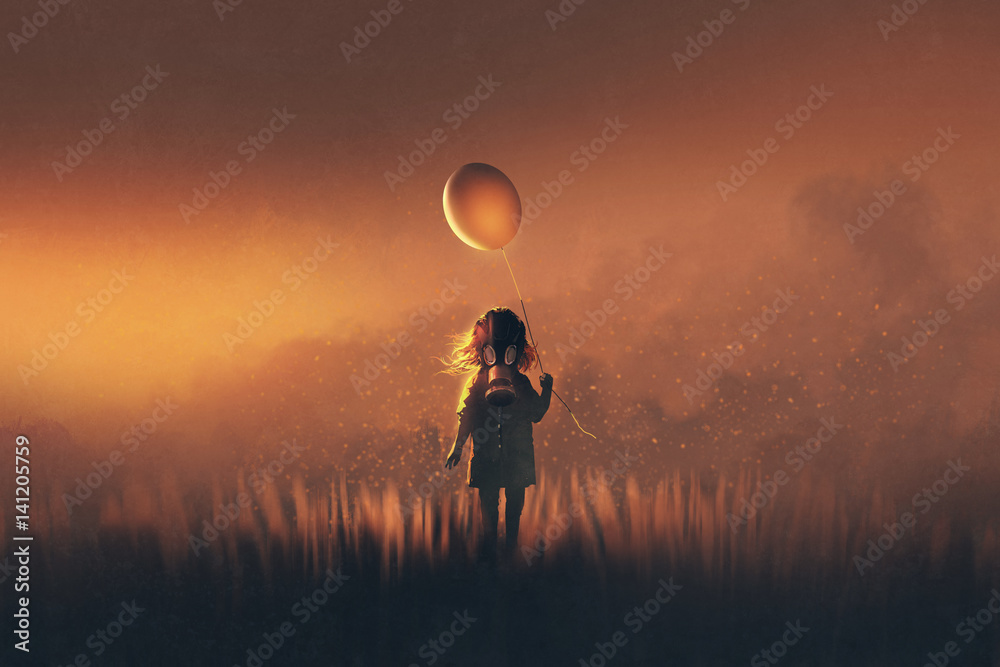 Fototapeta the little girl with gas mask holding balloon standing in fields at sunset,illustration painting