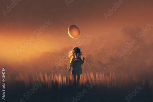 Fototapeta the little girl with gas mask holding balloon standing in fields at sunset,illustration painting obraz