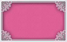 Chinese Rectangle Frame On Pink Pattern Oriental Background For Greeting Card. Vector Illustration, Paper Cut Out Art Style. Layers Are Isolated