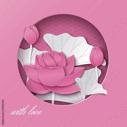 Greeting Card With Cut Out Round Frame And Floral Background With