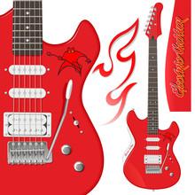 Детально прорисованная красная электрогитара с персонажем на корпусе