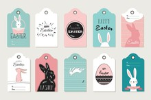 Easter Tag Collection With Bunnies And Easter Eggs. Happy Easter Vector Illustration