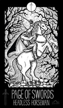 Page Of Swords. Headless Horseman. Minor Arcana Tarot Card. Fantasy Engraved Illustration. See All Collection In My Portfolio Set
