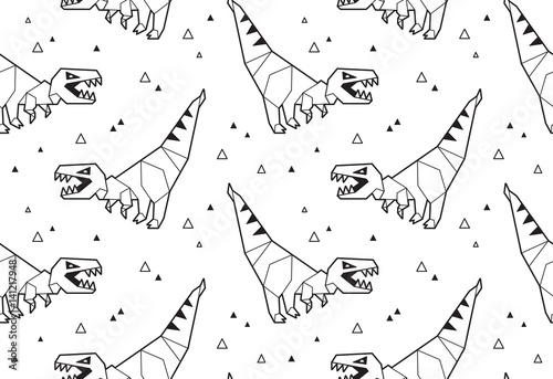 Cotton fabric Origami pattern background with dinosaurs