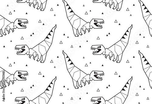 Materiał do szycia Tło wzór origami z dinozaurami