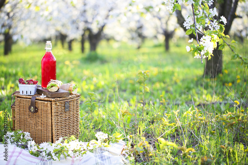 Deurstickers Picknick Basket, sandwiches, plaid and juice in a blossoming garden