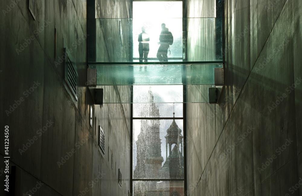 Fototapeta Ludzie, światło, katedra, okno, architektura