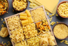Different Kinds Of Pasta On Gr...
