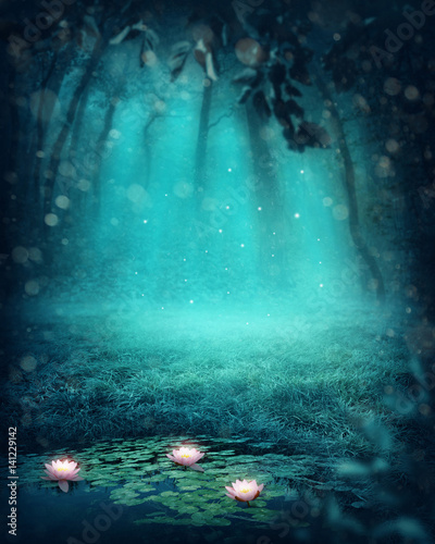 Tablou Canvas Dark magic forest