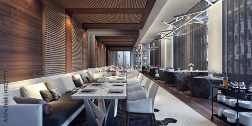 In de dag Restaurant Modern concept design of restaurant lounge 3D Render