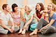 canvas print picture - Seniorin und Gruppe lachen glücklich