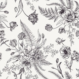 Kwiatowy wzór z wiosennych kwiatów. - 141236909
