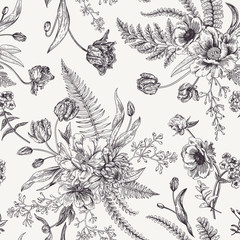 Fototapeta Seamless floral pattern with spring flowers.