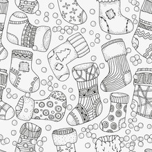Seamless Pattern. Set Of Christmas Socks.