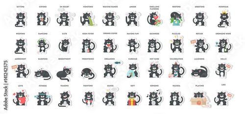Cat emoji set on white background. Joy and sick, sad and more. Stickers.