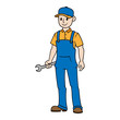 Cartoon Mechanic Appliance Repairman Vector Illustration