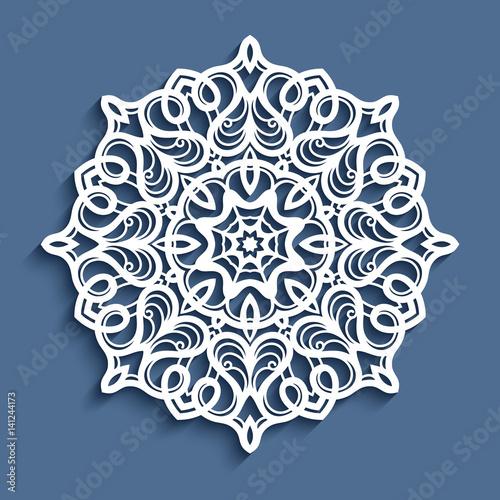 Fotografía  Paper lace doily, cutout round ornament