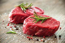 Raw Beef Fillet Steaks With Sp...