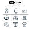 Set Of 9 Commerce Icons. Includes Box, Callcentre, Discount Location And Other Symbols. Beautiful Design Elements.