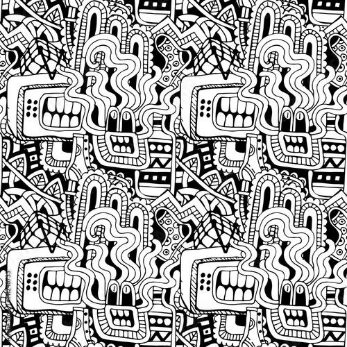 Zdjęcie XXL Graffiti bezszwowa tekstura z ogólnospołecznymi medialnymi znakami i innymi błyszczącymi ikonami. Ilustracja wektorowa z buta, tv, butelki, jedzenie, głowa potworów i inne rzeczy
