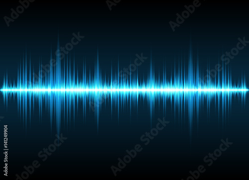Fotografía  Sound waves oscillating glow light, Abstract technology background - Vector